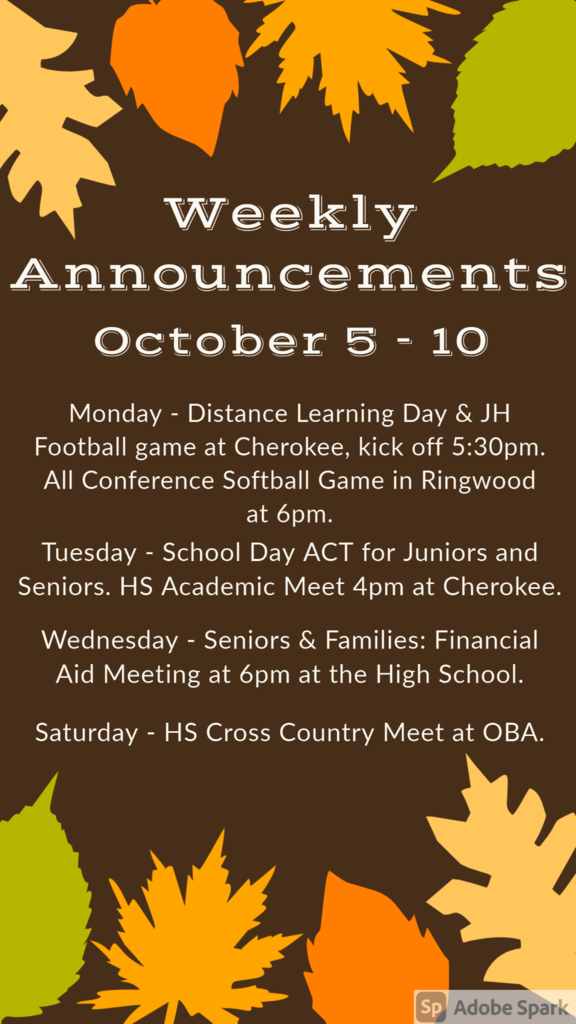 Weekly Announcements 10/5