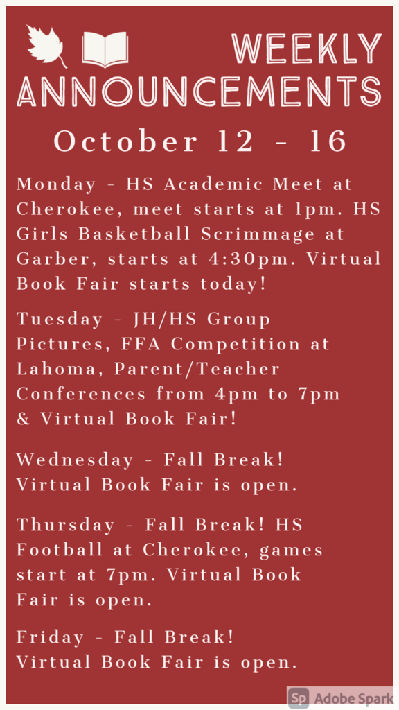 Weekly Announcements 10/12