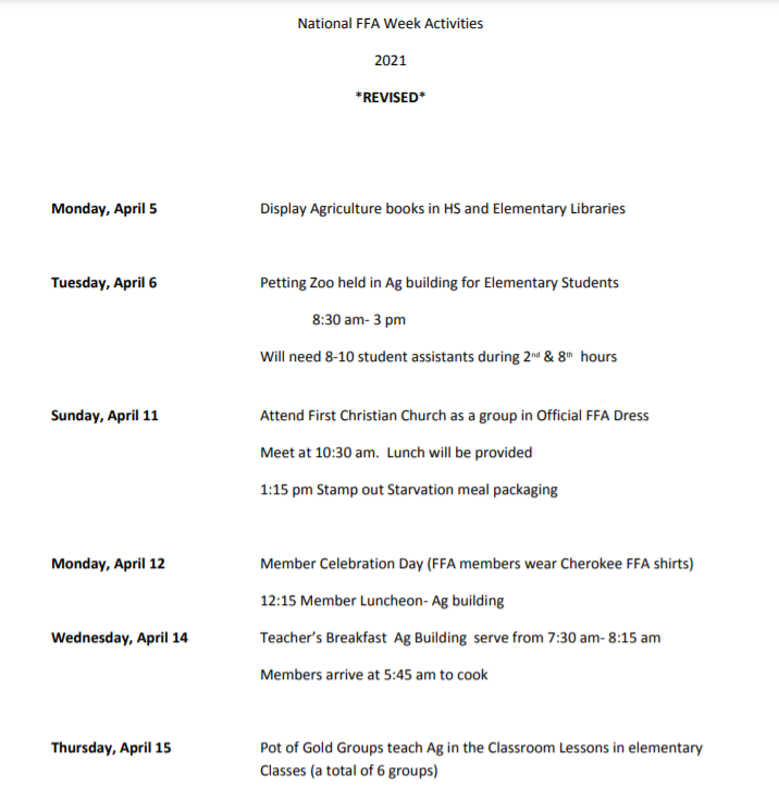 National FFA Week Schedule