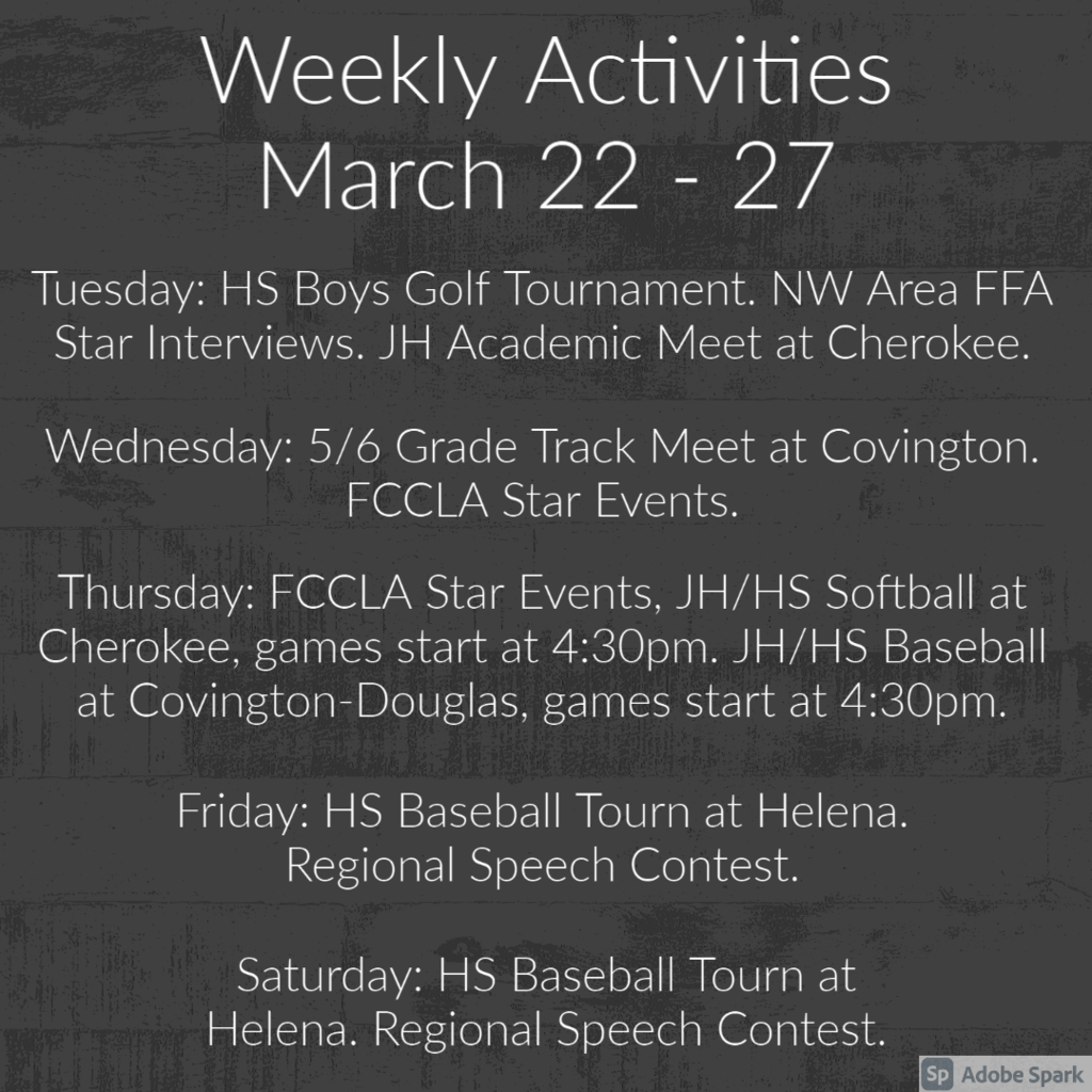 Weekly Activities - March 22