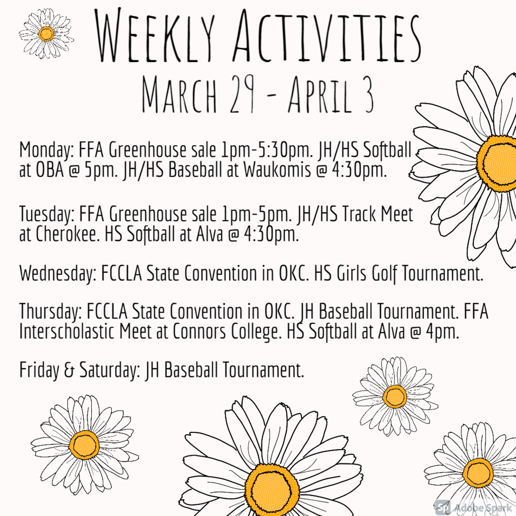 Weekly Activities - March 29