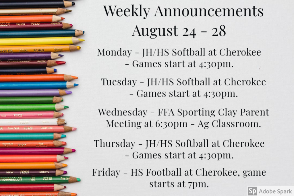 Weekly Announcements 8/24
