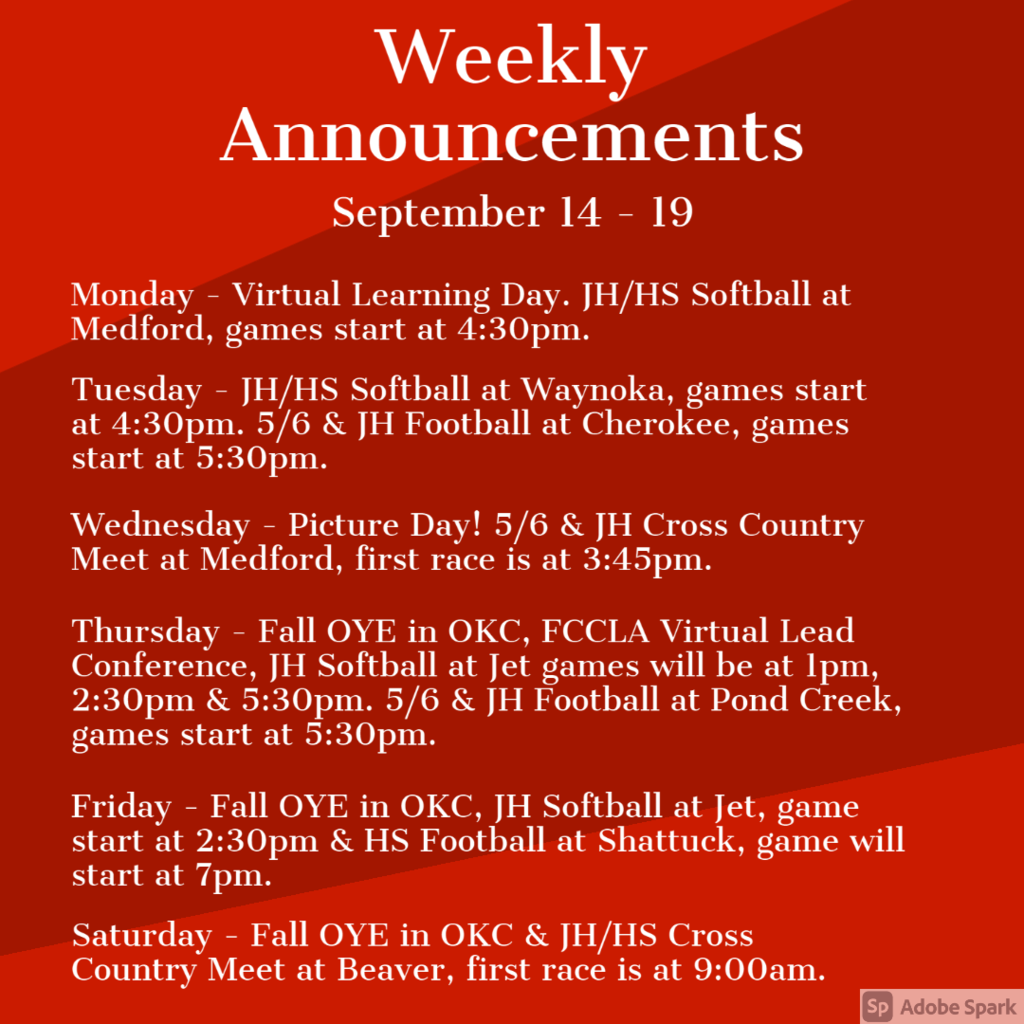 Weekly Announcements 9/14